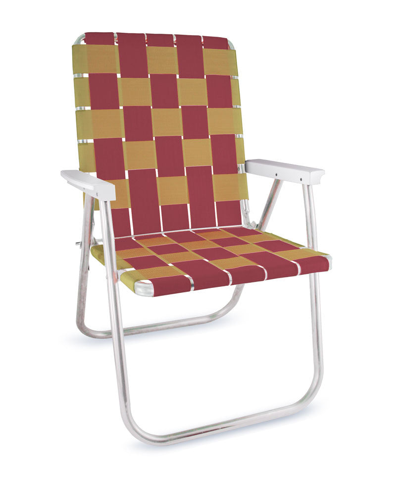 Burgundy/Gold Folding Aluminum Webbing Lawn Chair