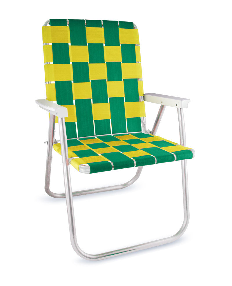 Green/Yellow Folding Aluminum Webbing Lawn Chair Deluxe