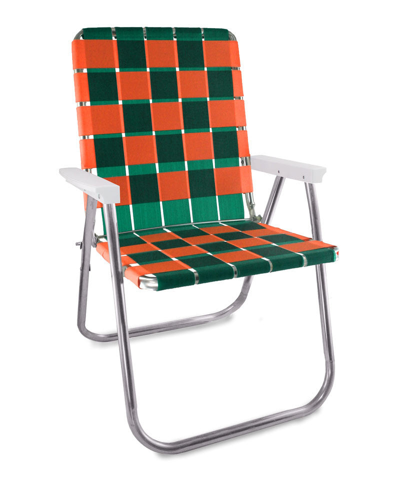 Green/Orange Folding Aluminum Webbing Lawn Chair Deluxe
