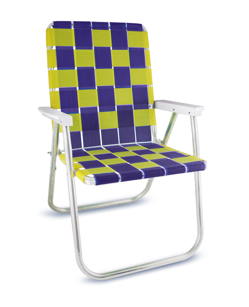 Purple/Yellow Folding Aluminum Webbing Lawn & Beach Chair Deluxe