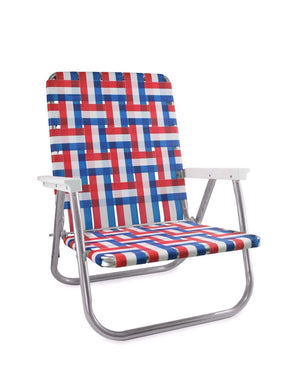 Lawn Chair USA Old Glory Folding Aluminum Webbing High Back Beach Chair with White Arms