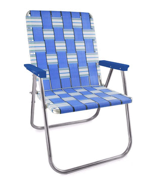 Lawn Chair USA Blue Sands Aluminum Webbing Magnum Chair with Blue Arms