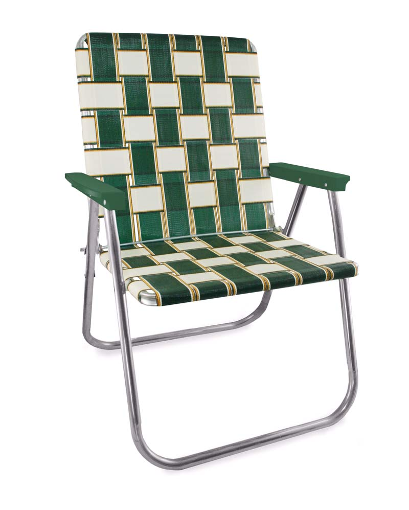 Lawn Chair USA Charleston Folding Aluminum Webbing Magnum Chair with Green Arms