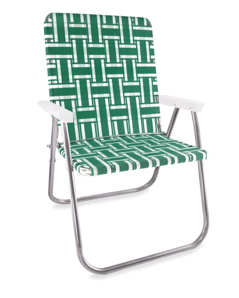 Lawn Chair USA Green and White Stripe Folding Aluminum Webbing Magnum Chair