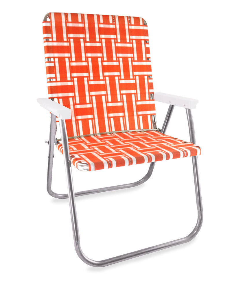 Orange and White Stripe Folding Aluminum Webbing Lawn Chair Magnum