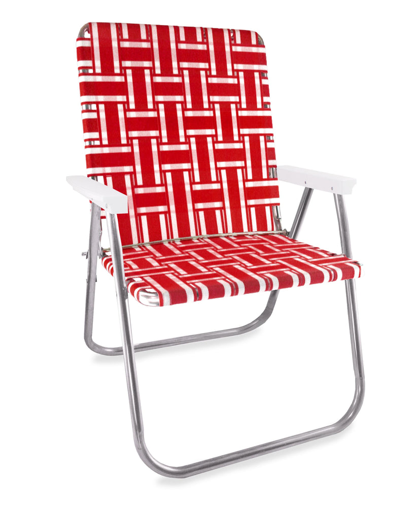 Lawn Chair USA Red and White Stripe Folding Aluminum Webbing Magnum Chair