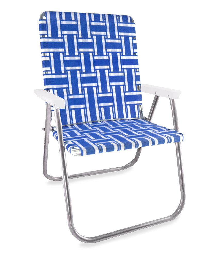 Lawn Chair USA Blue and White Stripe Aluminum Webbing Magnum Chair with White Arms