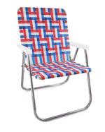 Lawn Chair USA Old Glory Folding Aluminum Webbing Magnum Chair with White Arms