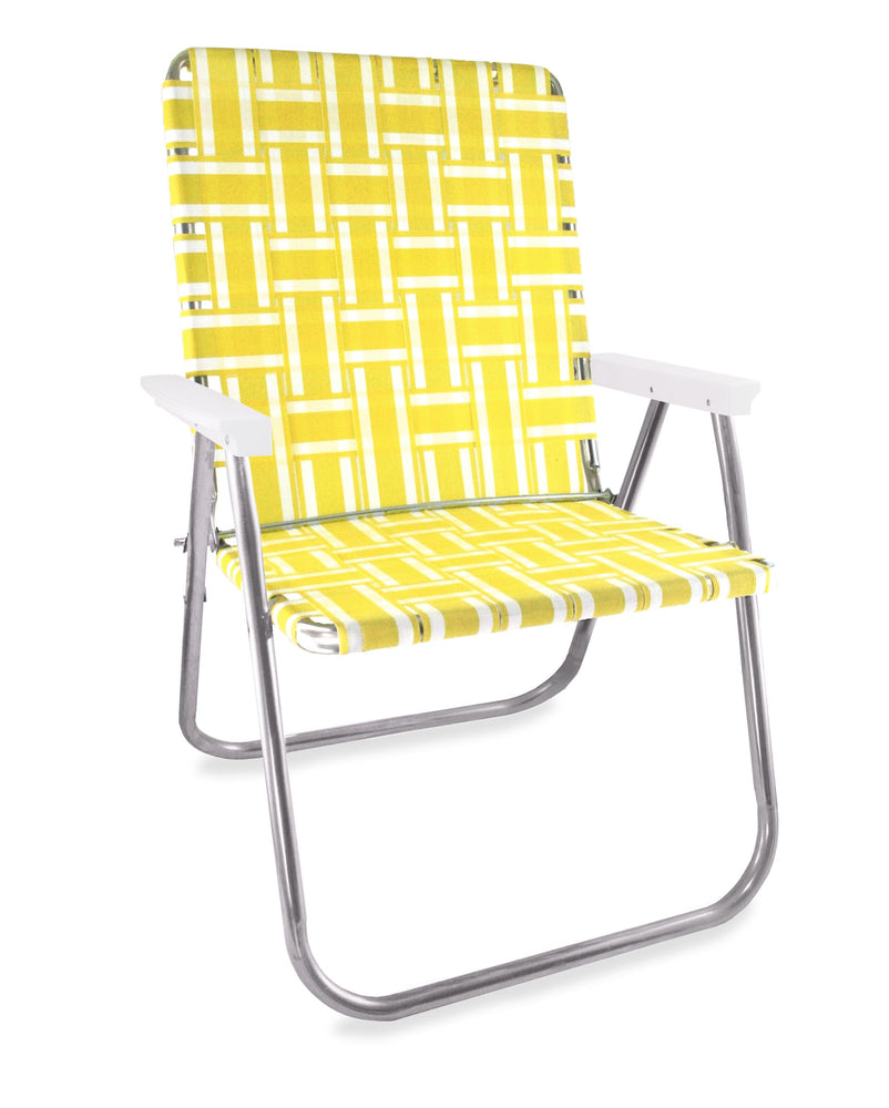 Lawn Chair USA Yellow and White Stripe Folding Aluminum Webbing Magnum Chair