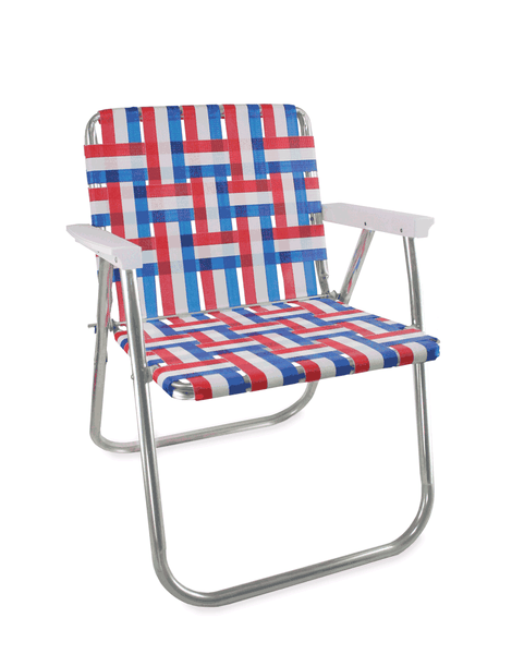 Lawn Chair USA Old Glory Folding Aluminum Webbing Picnic Chair with White Arms