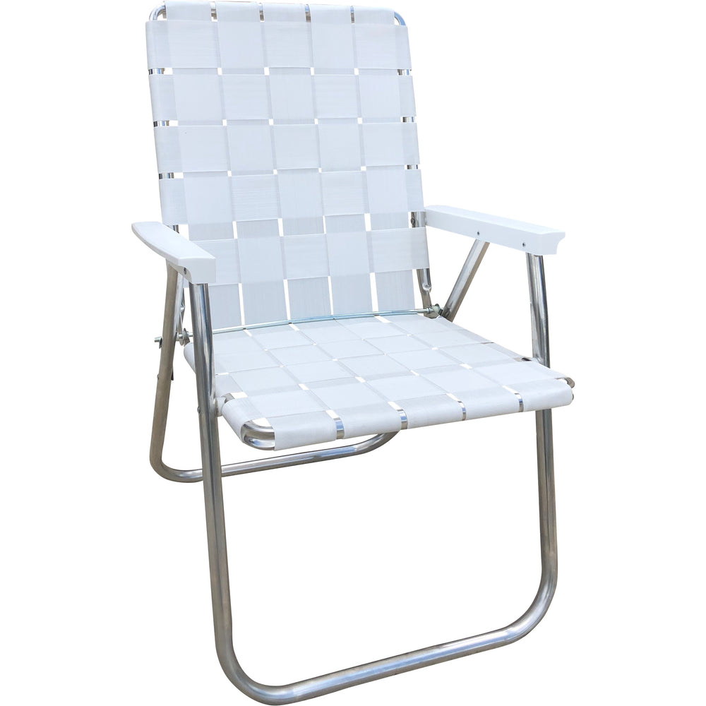 Bright White Classic Chair Lawn Chair USA Aluminum Folding