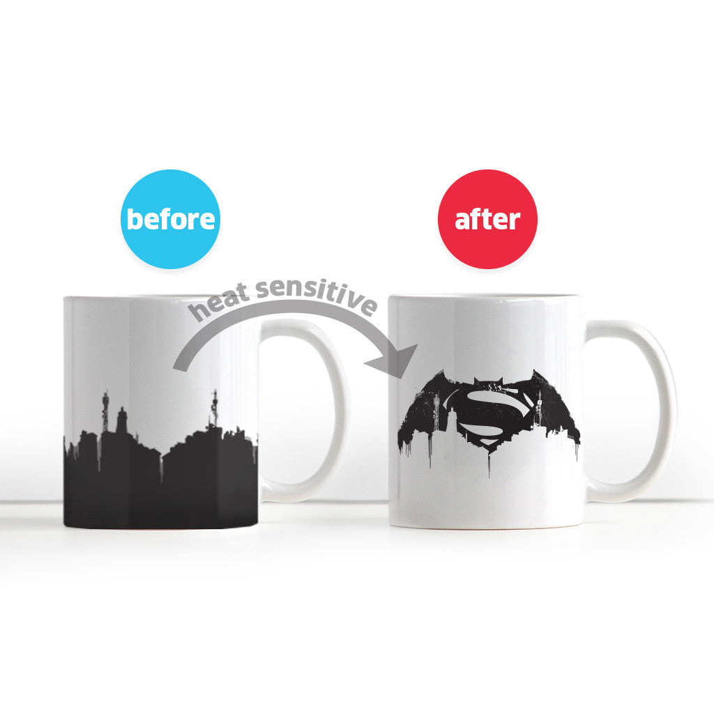 Heat-Sensitive, Color-Changing Batman v Superman Mug