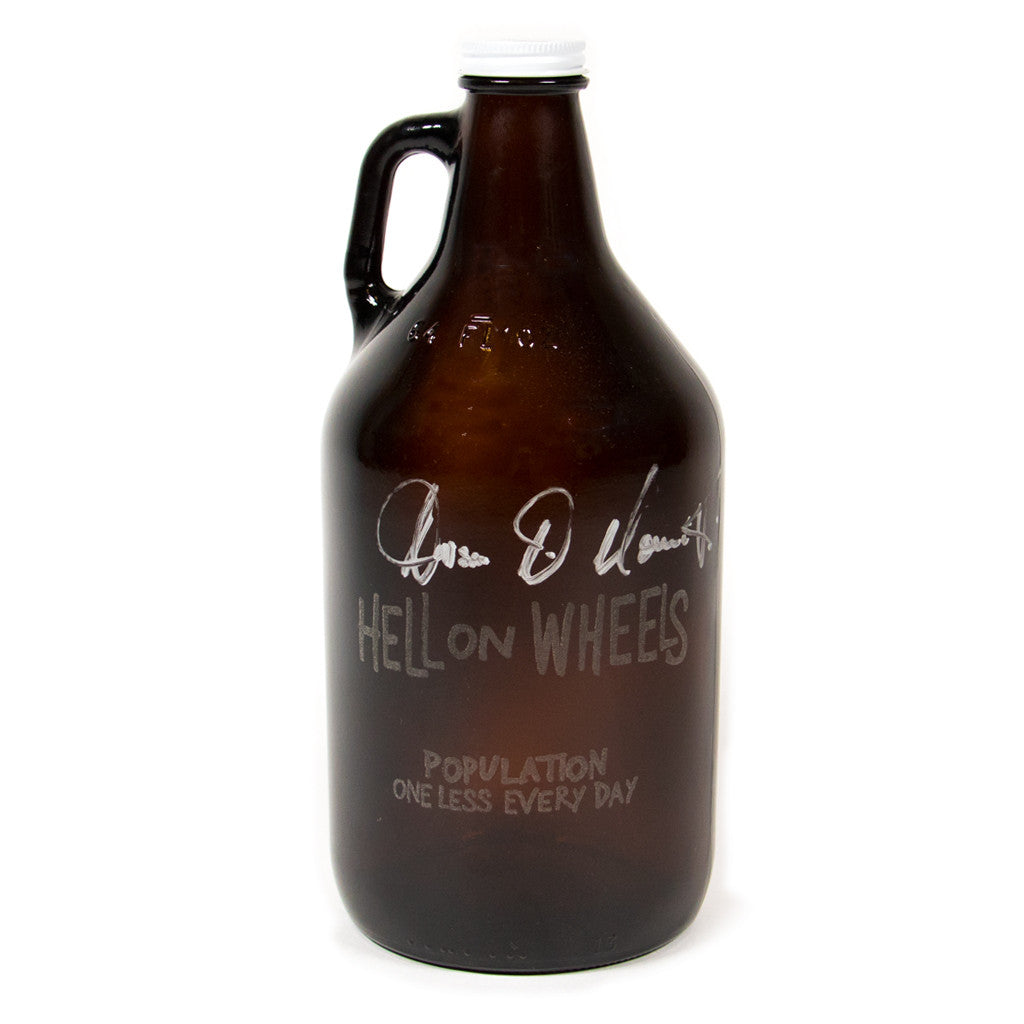 Hell on Wheels Beer Growler Signed by Anson Mount