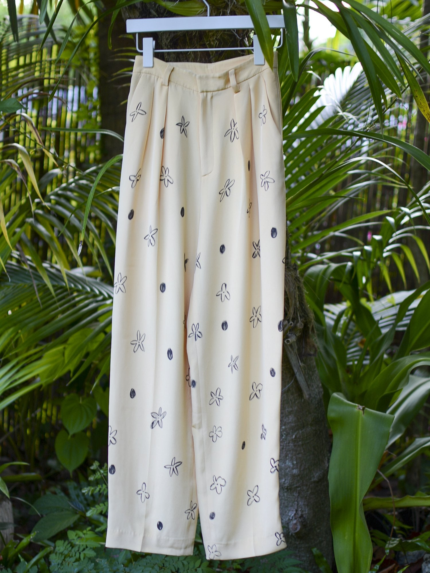 Hand-Painted Vintage Silk Pants - Light Yellow