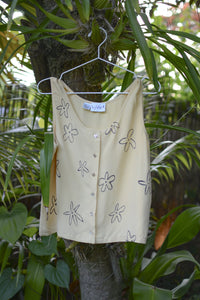 Hand-Painted Vintage Silk Top - Light Yellow