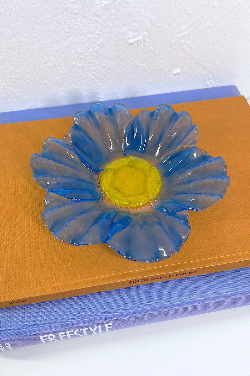 Casa Cuadra Vintage Blue Sunflower Glass Dish