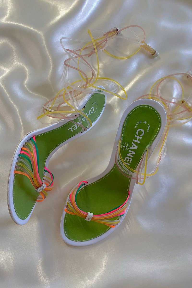 Casa Cuadra Vintage Chanel Strappy Neon Lace-Up Sandals
