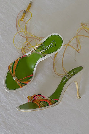 Chanel Strappy Neon Wrap Sandals