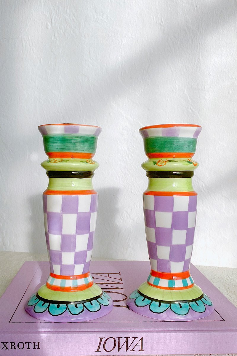 Checkered Ceramic Candle Holders