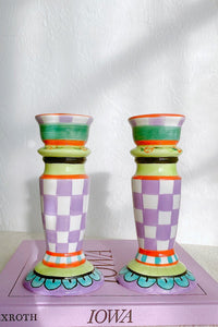 Casa Cuadra Vintage Checkered Ceramic Candle Holders