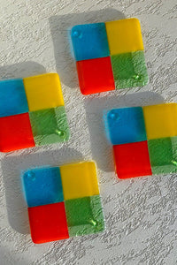 Colorblock Square Glass Coasters