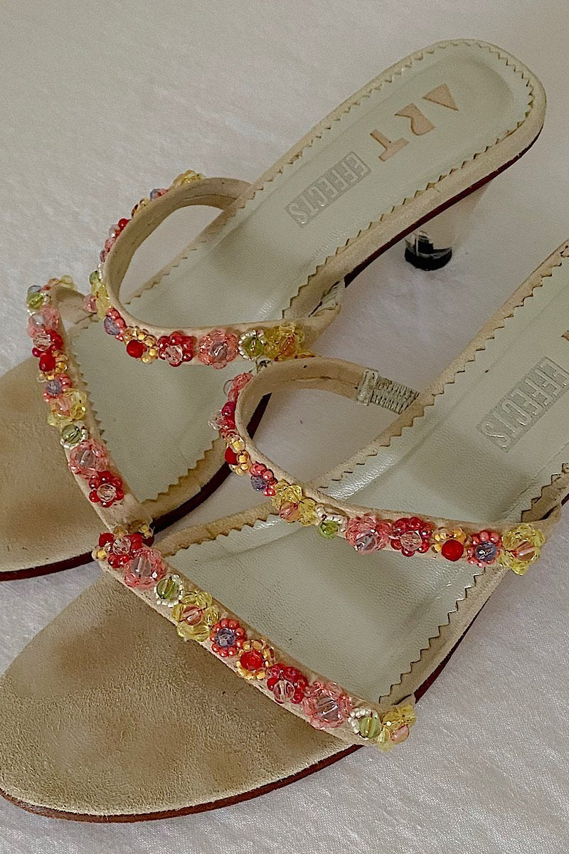 Daisy Bead Suede Sandals