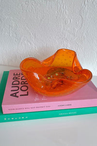 Casa Cuadra Vintage Folded Orange Bubble Glass Bowl