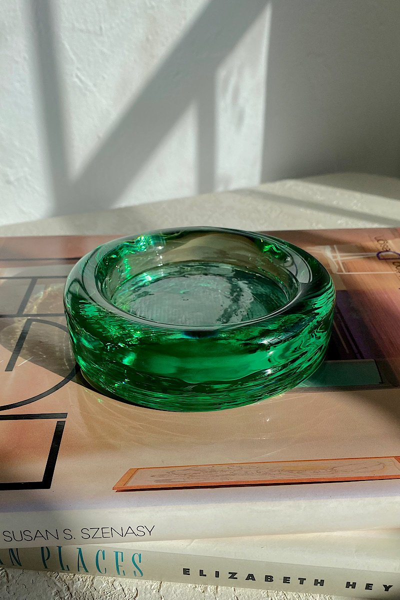 Casa Cuadra Vintage Green Glass Catchall