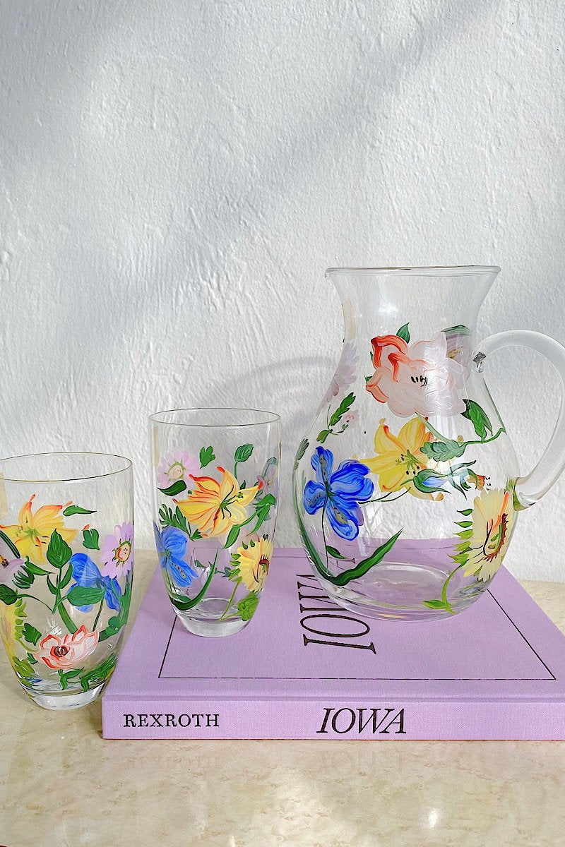Hand Painted Floral Pitcher Glass Set