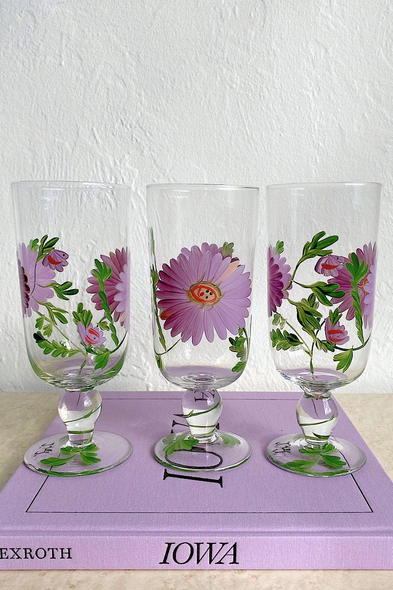 Hand Painted Floral Stemmed Glasses