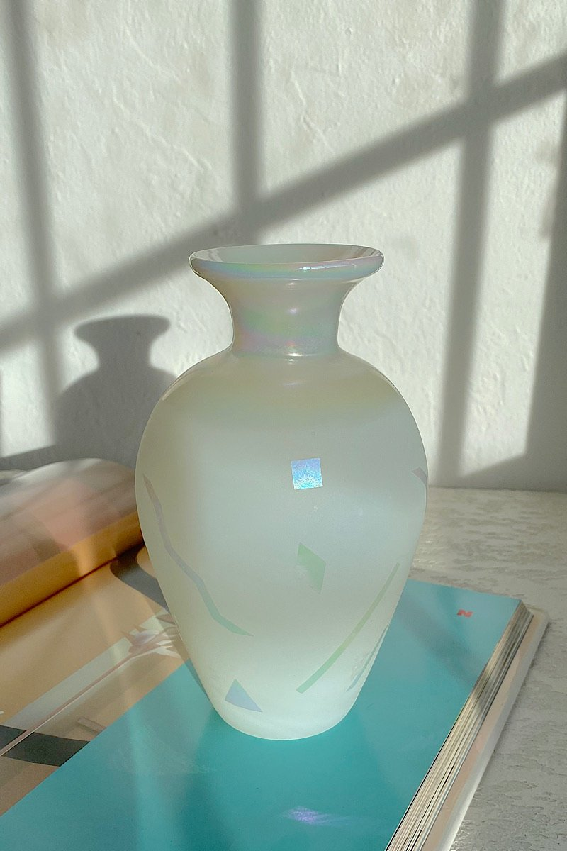 Iridescent Frosted Glass Vase