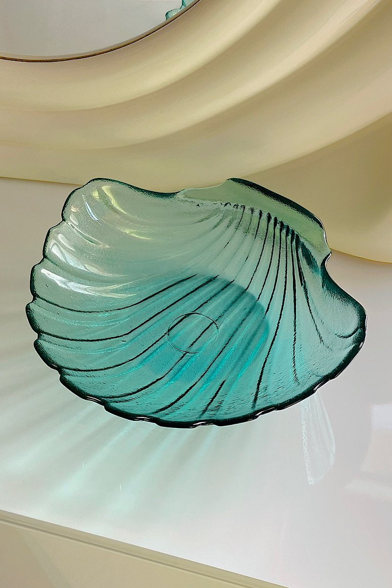 Casa Cuadra Vintage Large Aqua Shell Glass Bowl