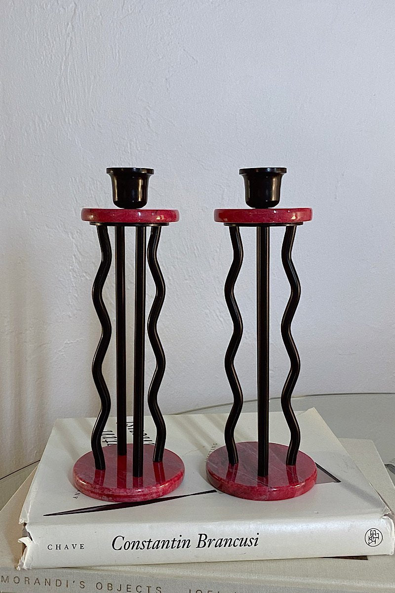 Memphis Style Granite Metal Candlesticks