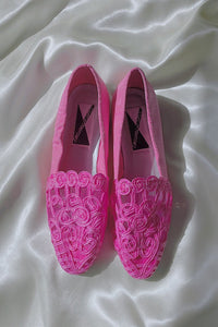 Pink Lace Embroidered Flats