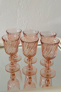 Pink Swirl French Wine Glasses
