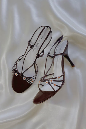 Casa Cuadra Vintage Strappy Brown Flower Heels