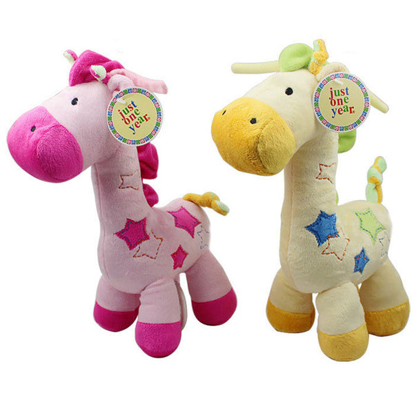 New 1pc Musical Baby Toy Super Soft Plush Baby Rattle Cute Giraffe Doll Early Educational