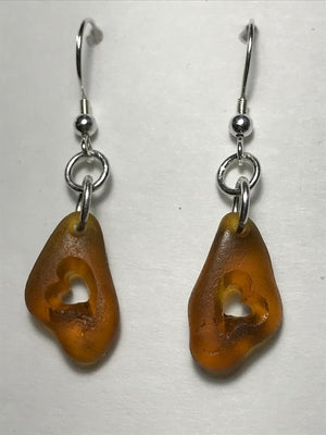 Amber Floppy Heart Earrings