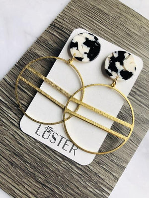 Black, White & Gold Earrings
