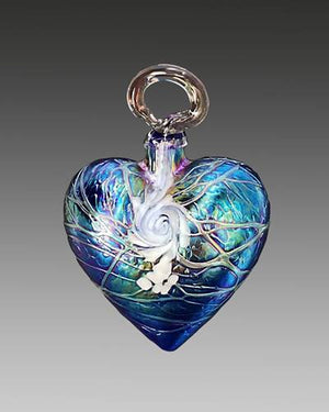 Small Blue Swirl Heart Ornament
