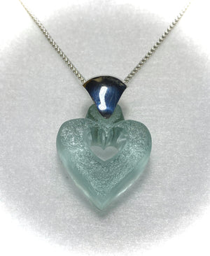 Seafoam Green Chunky Heart Necklace