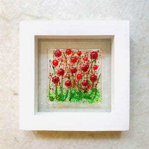 White Wood Floral Art Poppies