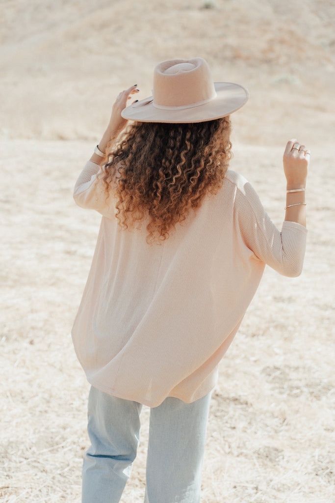 """Ash"" Relaxed Knit V-Neck, Taupe"