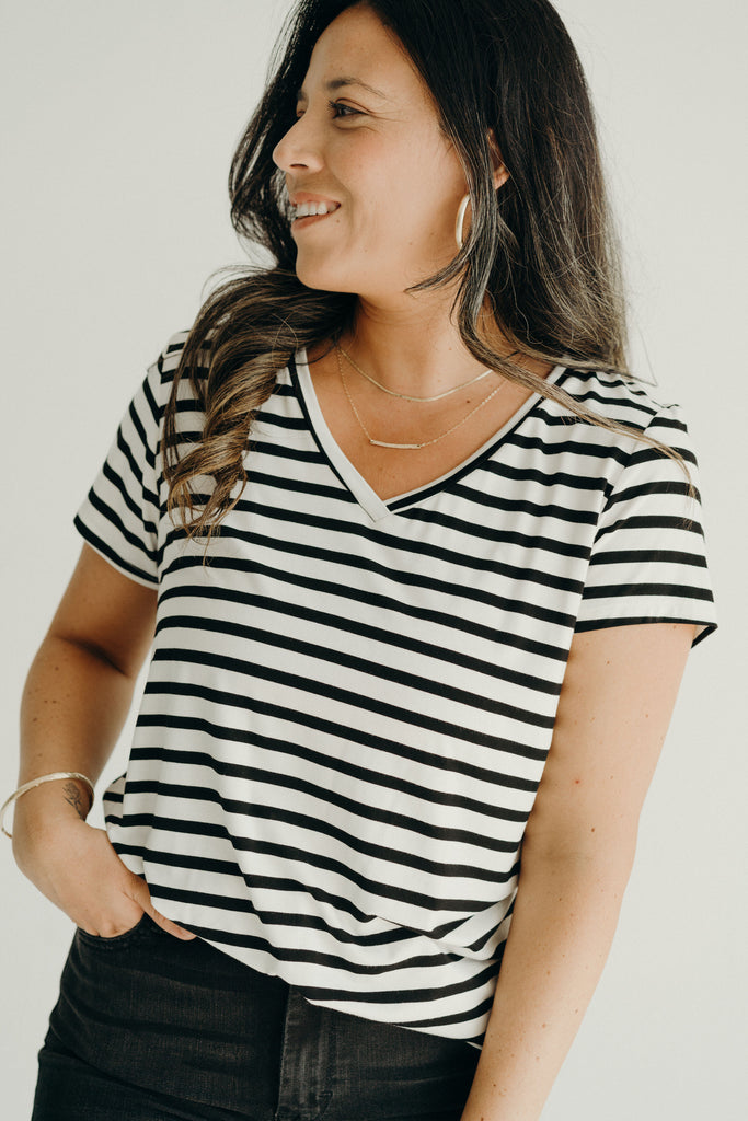 CJ's Favorite V-Neck Tee, Ivory and Black
