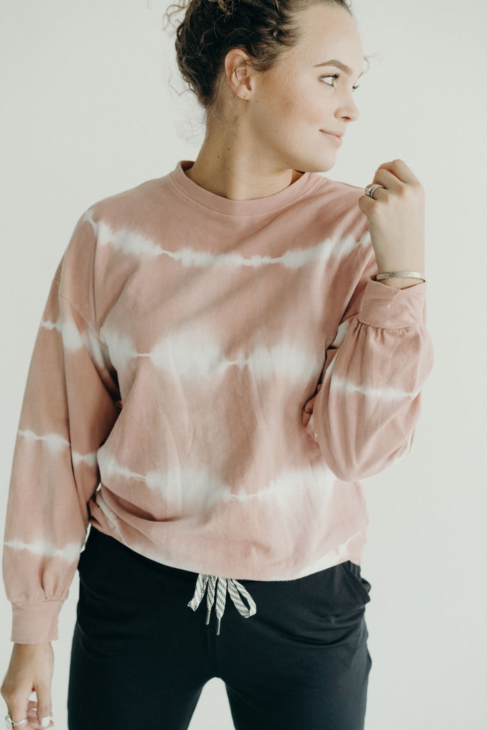 """Levi"" Tie Dye Pullover Sweater, Blush"