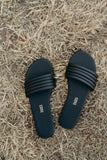 """Serena"" Leather Slides, Black"
