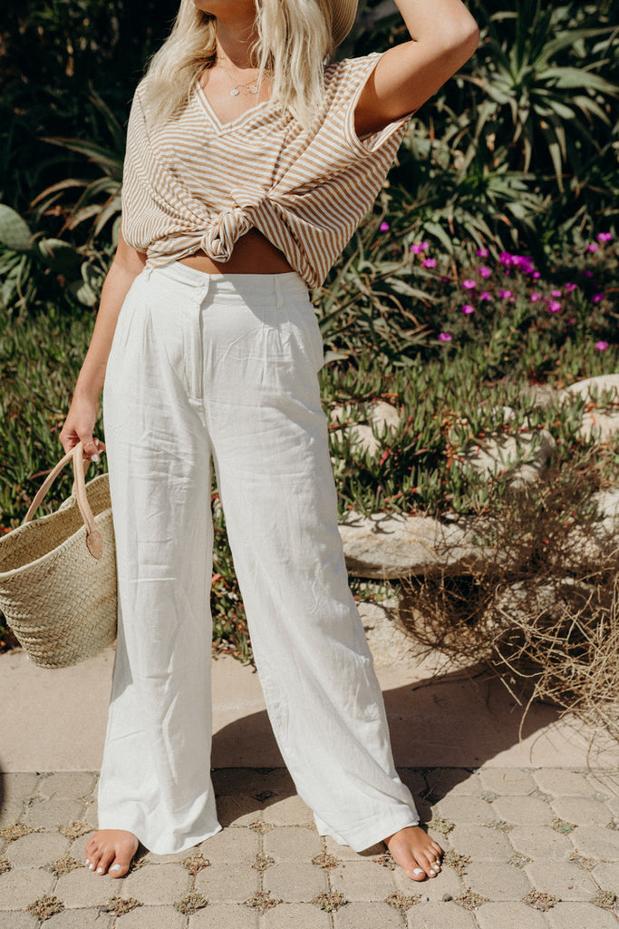 """Hamptons"" Linen Pants, White"