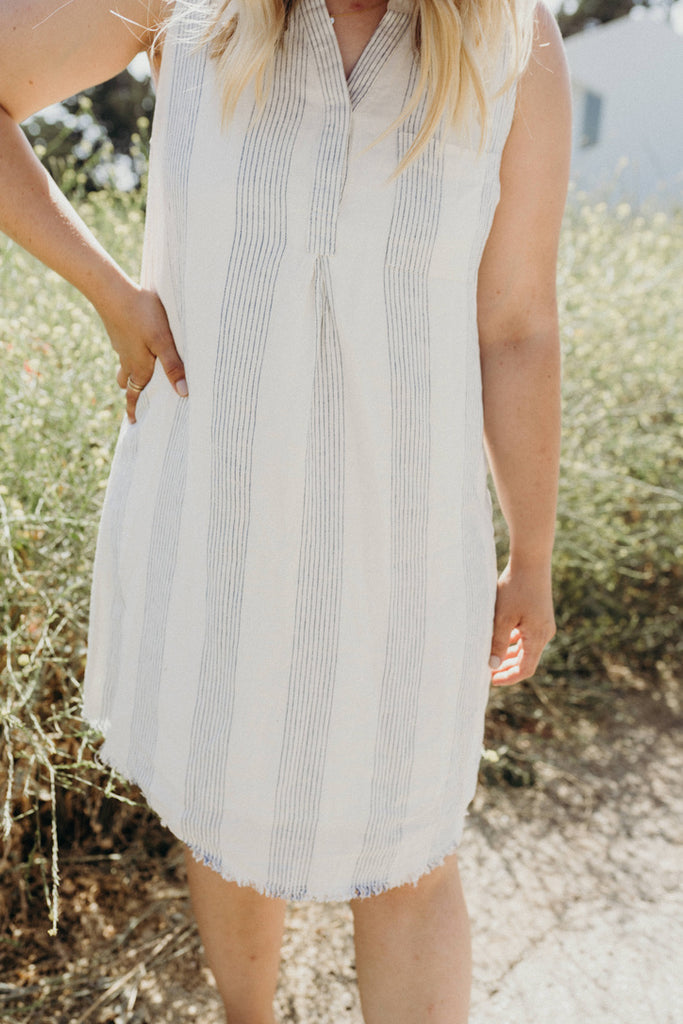 """Norah"" Lined Tank Dress, Blue and Ivory"