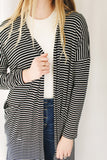 Sia Cardigan with Hood, Black/Ivory