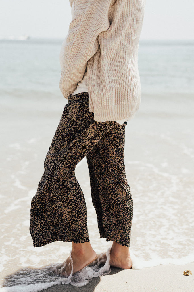 """Hazel"" Wide-Leg Trouser Pants, Black and Taupe Floral"